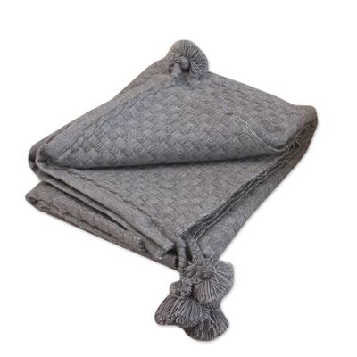 Neutral Grey Soft Alpaca Blend Throw Blanket with Tassels