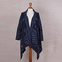 Alpaca blend sweater coat, 'Blue Andean Sunburst' - Blue Alpaca Blend Jacquard Knit Open Sweater Coat