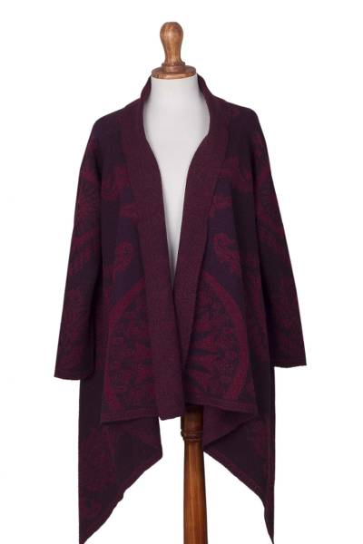 Alpaca blend sweater coat, 'Burgundy Andean Sunburst' - Alpaca Blend Jacquard Knit Open Front Burgundy Sweater Coat