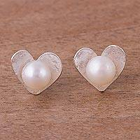 Cultured pearl stud earrings, 'Glowing Hearts' - Peruvian Cultured Pearl Sterling Silver Heart Stud Earrings