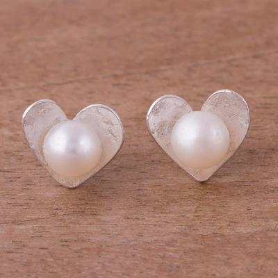 Novica Cultured pearl button earrings, Shining Flower