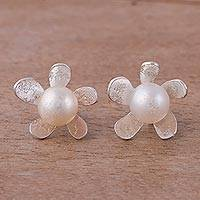 Cultured pearl stud earrings, 'Blossom Glow' - Peruvian Cultured Pearl Sterling Silver Floral Stud Earrings