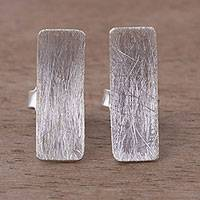 Sterling silver button earrings, 'Element of Simplicity' - Rectangular Sterling Silver Button Earrings from Peru