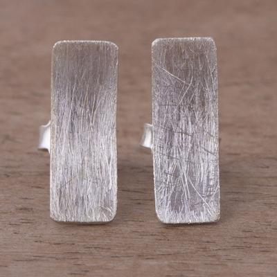 Novica Sterling silver button earrings, Splash of Sun