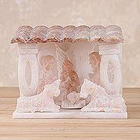 Huamanga stone nativity scene sculpture, 'Born Unto You' - Small Handmade Huamanga Stone Nativity Scene from Peru
