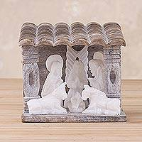 Huamanga stone mini nativity scene sculpture, 'Blessing in a Grotto' - Mini Huamanga Stone Nativity Scene Handmade in Peru