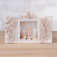 Huamanga stone mini nativity scene sculpture, 'Joyous Birth' - Mini Retablo Style Huamanga Stone Nativity Scene from Peru