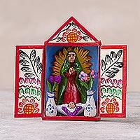 Hand-painted mini-retablo, 'Empress de America' - Handcrafted Virgin of Guadalupe Folk Art Retablo from Peru