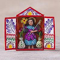 Hand-painted mini-retablo, 'The Liberating Archangel' - Peruvian Hand Crafted Archangel Folk Art Retablo