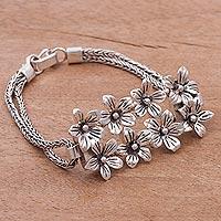 Sterling silver pendant bracelet, 'Peruvian Lilies'