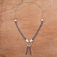 Garnet Y-necklace, 'Scarlet Elegance' - Peru Handcrafted Sterling Contemporary Garnet Y-Necklace