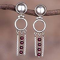 Garnet dangle earrings, 'Scarlet Elegance' - Contemporary Sterling Silver Garnet Dangle Earrings