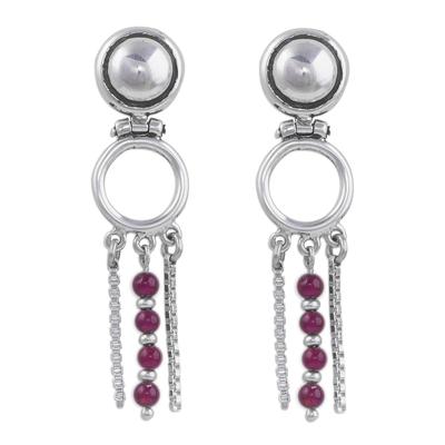 Garnet dangle earrings, 'Scarlet Elegance' - Contemporary Sterling Silver Garnet Dangle Earrings