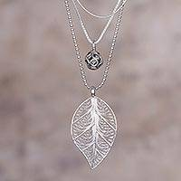 Sterling silver filigree pendant necklace, 'Natural Spell' - Sterling Silver Leaf Filigree Pendant Necklace from Peru