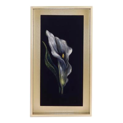 'Calla Lily' - Framed Painting of a Calla Lily Flower from Peru
