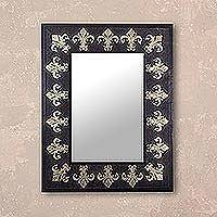 Leather mirror, 'Golden Fleur-de-Lis' - Fleur-de-Lis Motif Leather Wall Mirror from Peru