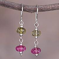 Quartz dangle earrings, 'The Color of Dreams' - Pink and Green Quartz and Sterling Silver Dangle Earrings