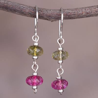 Quartz Dangle Earrings The Color Of Dreams Pink And Green
