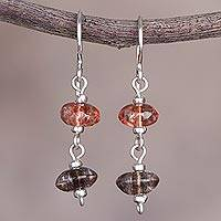 Quartz dangle earrings, 'The Color of Harmony' - Orange and Brown Quartz and Sterling Silver Dangle Earrings
