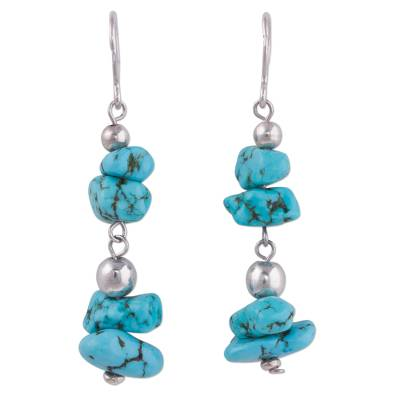 Sterling Silver and Reconstituted Turquoise Dangle Earrings