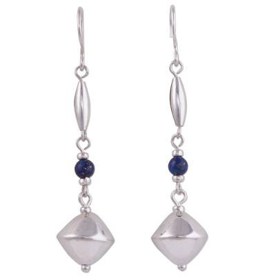 Sterling silver and lapis lazuli dangle earrings, 'Heavenly Glamour' - Lapis Lazuli and Sterling Silver Dangle Earrings from Peru