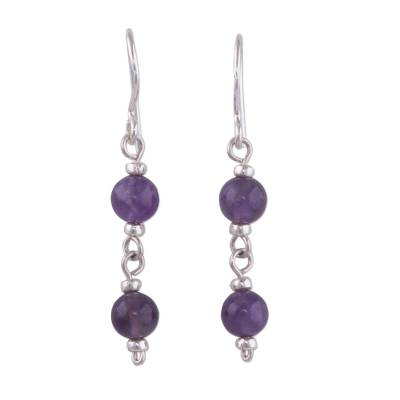 Dangle Earrings in Sterling Silver with Two Amethyst Beads
