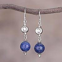 Sodalite dangle earrings, 'Royal Spring' - Peruvian Sodalite and Sterling Silver Beaded Dangle Earrings