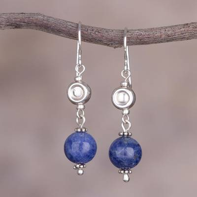 6894da2f1bdd Peruvian Sodalite and Sterling Silver Beaded Dangle Earrings - Royal ...