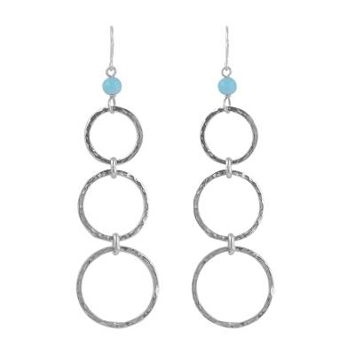 Amazonite Bead and Sterling Silver Dangle Earrings from Peru