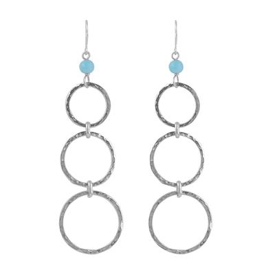 Amazonite dangle earrings, 'Silver Ripples' - Amazonite Bead and Sterling Silver Dangle Earrings from Peru