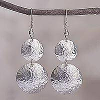 Sterling silver dangle earrings, 'Luminous Sentries' - Double Disk Sterling Silver Dangle Earrings from Peru