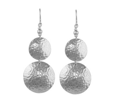 Sterling silver dangle earrings, 'Luminous Sentries' - Double Disk Sterling Silver Dangle Earrings from Peru