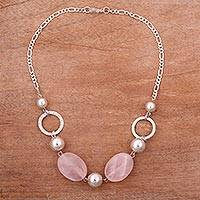 Rose quartz beaded pendant necklace, 'Rose Lady' - Rose Quartz and Sterling Silver Beaded Pendant Necklace