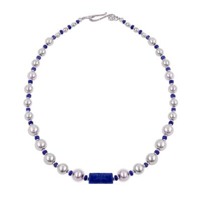 Sodalite beaded pendant necklace, 'Infinite Ocean' - Sodalite and Sterling Silver Beaded Necklace from Peru