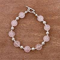 Rose quartz and sterling silver beaded bracelet, 'Pink Simplicity' - Rose Quartz and Sterling Silver Beaded Bracelet from Peru