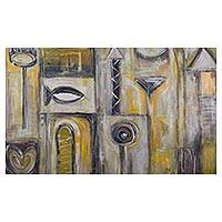 'Grey and Yellow World' (2016) - Original Signed Grey and Yellow Andean Abstract Painting