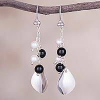 Onyx and cultured pearl dangle earrings, 'Glimmering Leaf Fall' - Onyx and Cultured Pearl Dangle Earrings from Peru