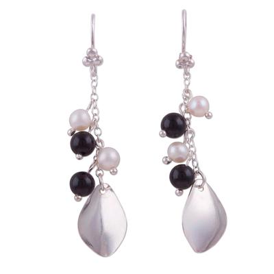 Onyx and Cultured Pearl Dangle Earrings from Peru