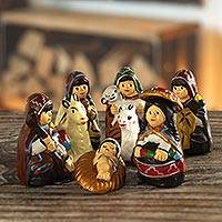 Ceramic nativity scene, 'An Arequipa Christmas' (8 pieces) - Petite Andean Ceramic Nativity Scene (8 Pieces)