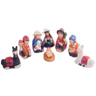 9-Piece Handcrafted Ceramic Peruvian Nativity Scene
