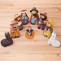 Ceramic nativity scene, 'Cuzco Christmas Joy' (10 pieces) - Holy Family Ceramic Nativity Scene with Shepherd Musicians