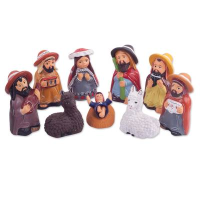 Holy Family Ceramic Nativity Scene with Shepherd Musicians