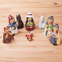 Ceramic nativity scene, 'Cuzco Christmas' (8 pieces) - Andean Handcrafted Ceramic Nativity Scene (8 Pieces)
