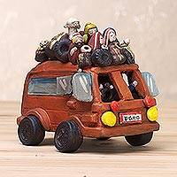 Ceramic sculpture, 'Lively Bus' - Handcrafted Travel-Themed Sculpture from Peru