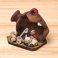 Ceramic figurine, 'Chicha de Jora Nativity' - Ceramic Nativity Figurine Inside a Jar from Peru