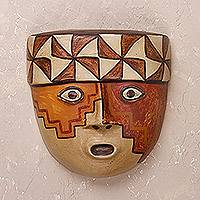Ceramic mask, 'Wari Soldier' - Handcrafted Ceramic Mask of a Wari Soldier from Peru