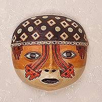 Ceramic mask, 'Wari Strength' - Handcrafted Pre-Hispanic Wari Ceramic Mask from Peru