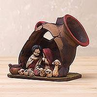 Ceramic sculpture, 'Nativity Inside a Vase' - Handcrafted Ceramic Nativity Scene Sculpture from Peru