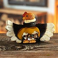 Ceramic nativity scene, 'Condor Christmas' - Condor Theme Andean Christmas Nativity Scene in Ceramic