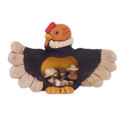 Condor Theme Andean Christmas Nativity Scene in Ceramic